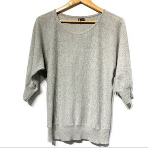 Sparkle & fade grey batwing sweater 3/4 sleeve top